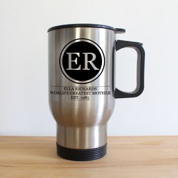 Initials Monogram Mum/ Dad Silver Travel Mug